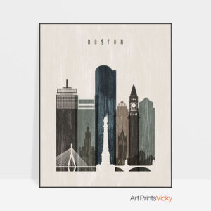 Boston skyline print distressed 2