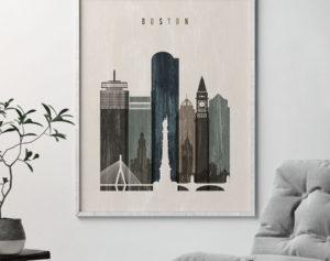 Boston skyline print distressed 2 second