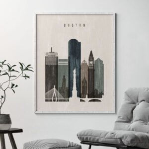 Boston skyline print distressed 2 second
