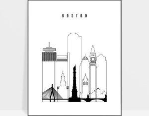 Boston black white poster