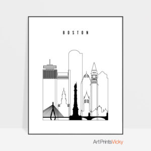 Boston black white poster