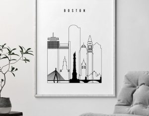 Boston black white poster second