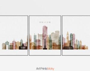 Boston watercolor 1 skyline set of 3 prints