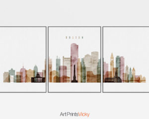 Boston watercolor 1 skyline set of 3 prints