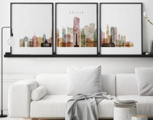 Boston watercolor 1 skyline set of 3 prints second