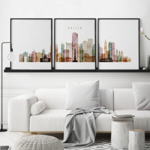 Boston watercolor 1 skyline set of 3 prints second