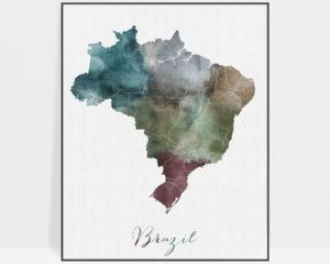 Brazil map print