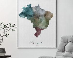Brazil map print second