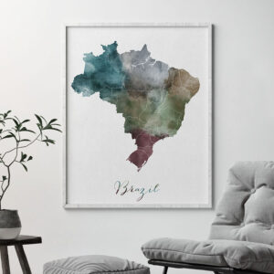 Brazil map print second