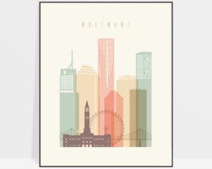 Brisbane art print skyline pastel cream