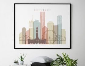 brisbane poster skyline pastel landscape second photo at artprintsvicky.com