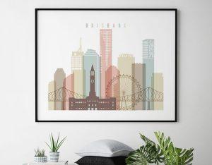 brisbane poster skyline pastel landscape second photo at artprintsvicky.com