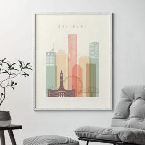 Brisbane art print skyline pastel cream second