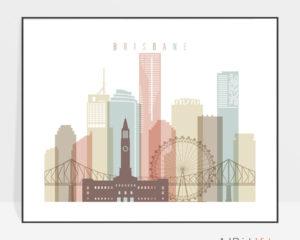 Brisbane skyline poster pastel white landscape