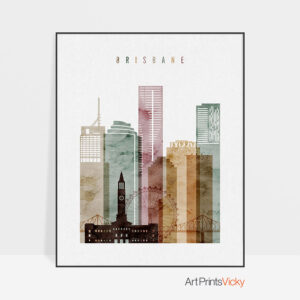Brisbane skyline art print watercolor 1