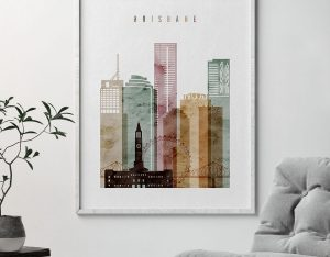 Brisbane skyline art print watercolor 1 second