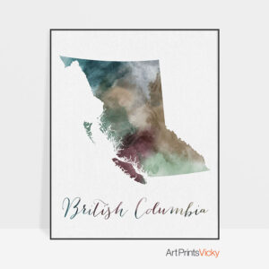 British Columbia map print