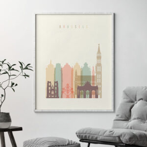 Brussels art print skyline pastel cream second