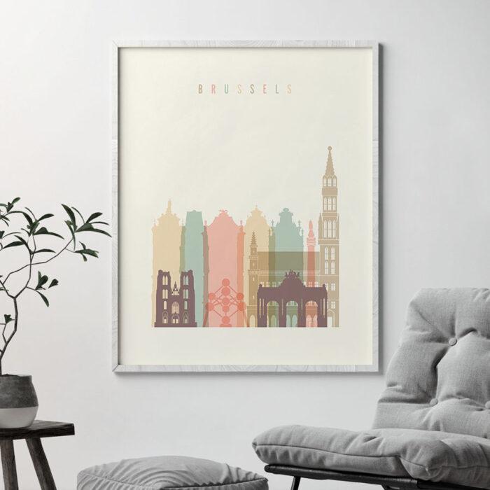 Brussels art print skyline pastel cream second
