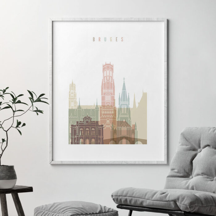 Bruges wall art pastel white second