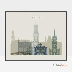 Bruges print earth tones 1 landscape