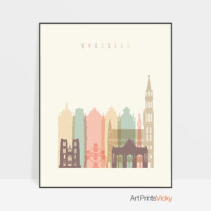 Brussels Art Print Skyline Pastel Cream