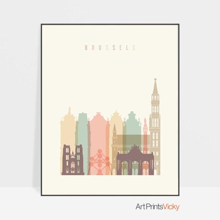 Brussels Art Print Skyline Pastel Cream