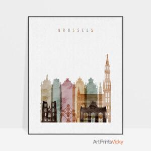 Brussels skyline art print watercolor 1