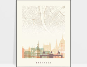 Budapest map print poster pastel cream
