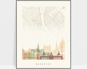 Budapest map print poster pastel cream