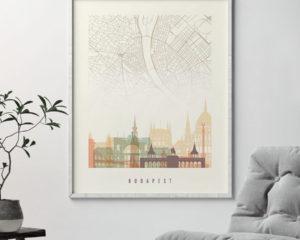 Budapest map print poster pastel cream second