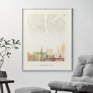 Budapest map print poster pastel cream second