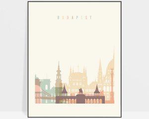 Budapest art print skyline pastel cream