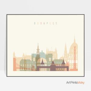 Budapest poster skyline pastel cream landscape