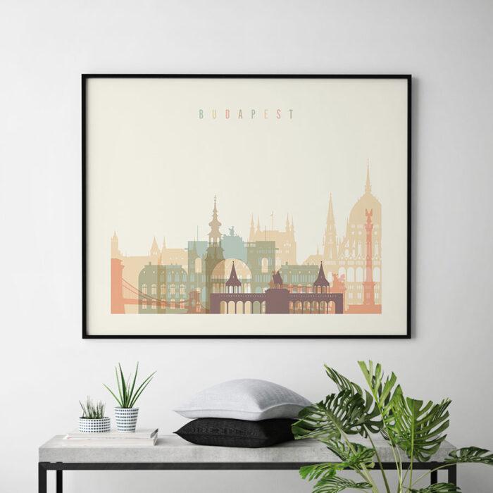 Budapest poster skyline pastel cream landscape second