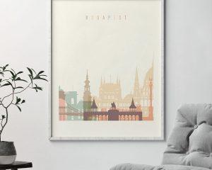 Budapest art print skyline pastel cream second