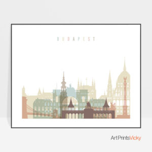 Budapest print pastel white landscape