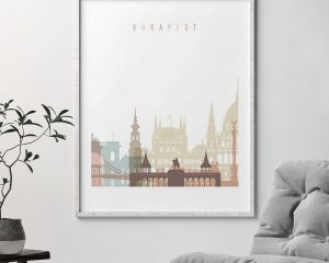 Budapest wall art pastel white second