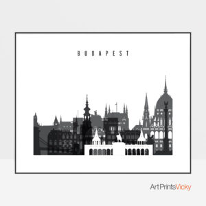 Budapest black and white skyline poster landscape