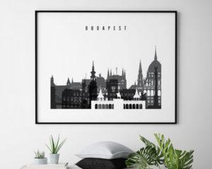 Budapest black and white skyline poster landscape second