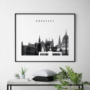 Budapest black and white skyline poster landscape second