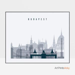 Budapest skyline art grey blue landscape