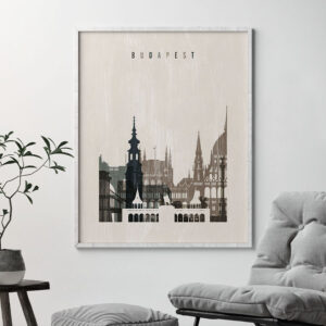 Budapest skyline print distressed 2 second