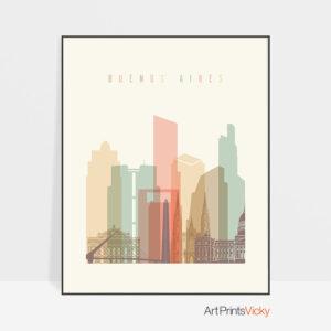 Buenos Aires art print skyline pastel cream
