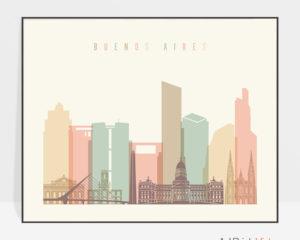 Buenos Aires poster skyline pastel cream landscape