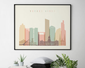 Buenos Aires poster skyline pastel cream landscape second