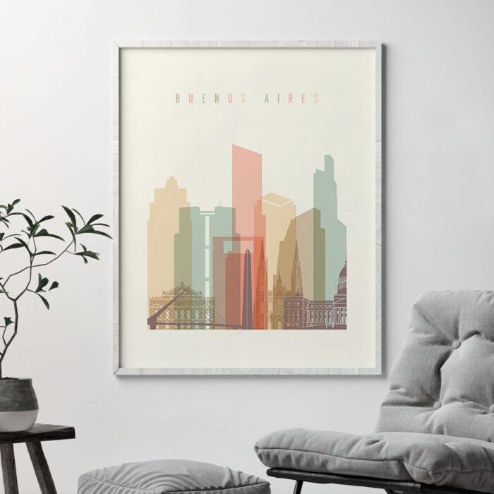 Buenos Aires art print skyline pastel cream second