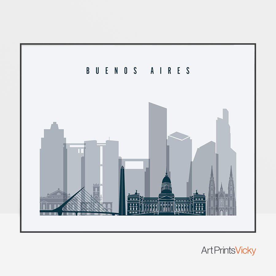 Buenos Aires skyline poster grey blue landscape