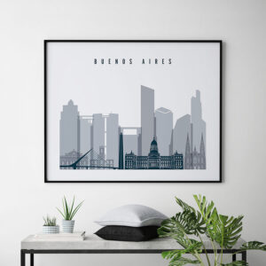 Buenos Aires skyline poster grey blue landscape second