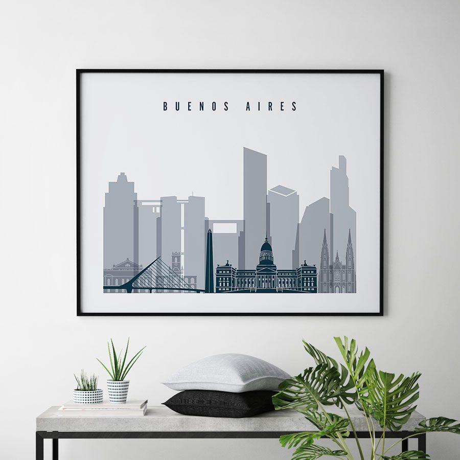 Buenos Aires skyline poster grey blue landscape second